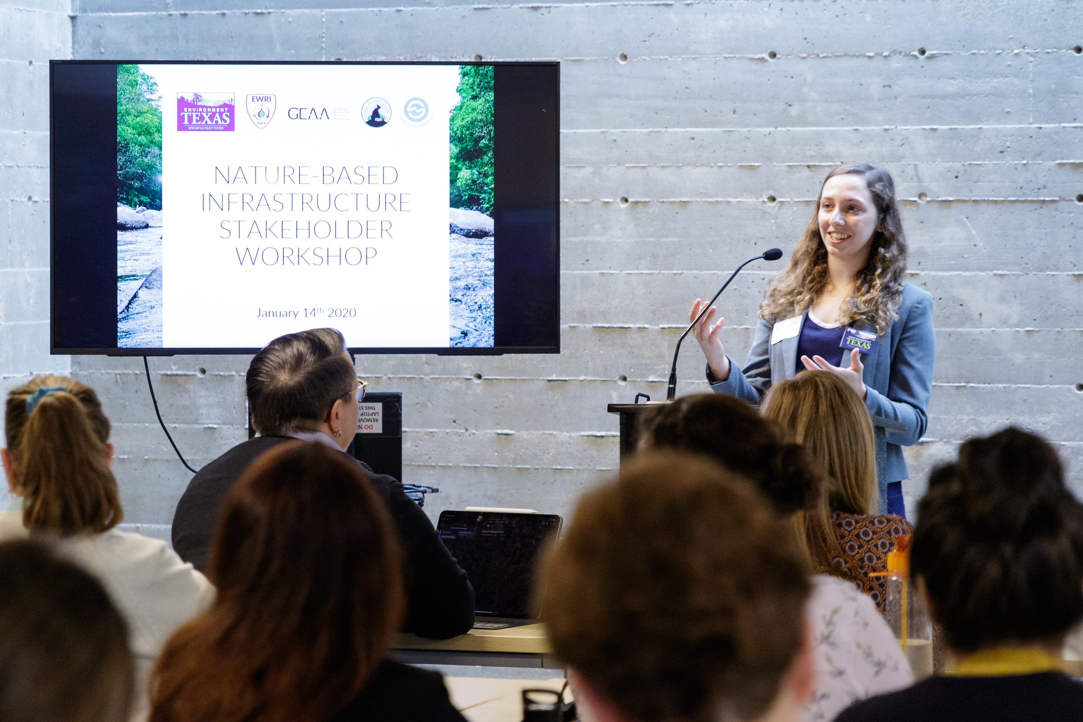 Clean Water Associate Anna presenting at a nature-based infrasrtucture conference
