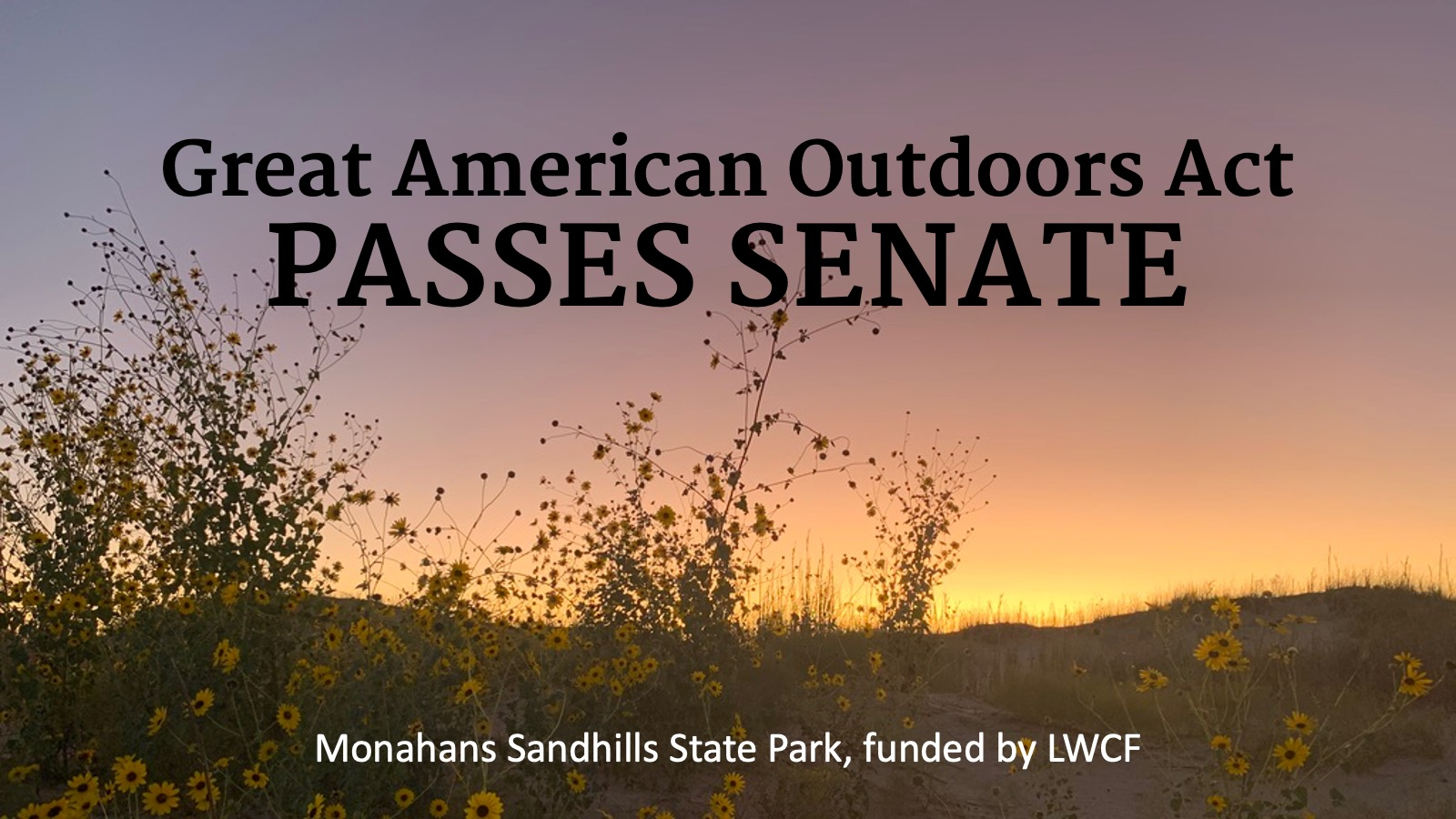 Photo of a sunset over sand dunes in Monahans Sandhills State Park with the text Great American Outdoors Act Passes Senate