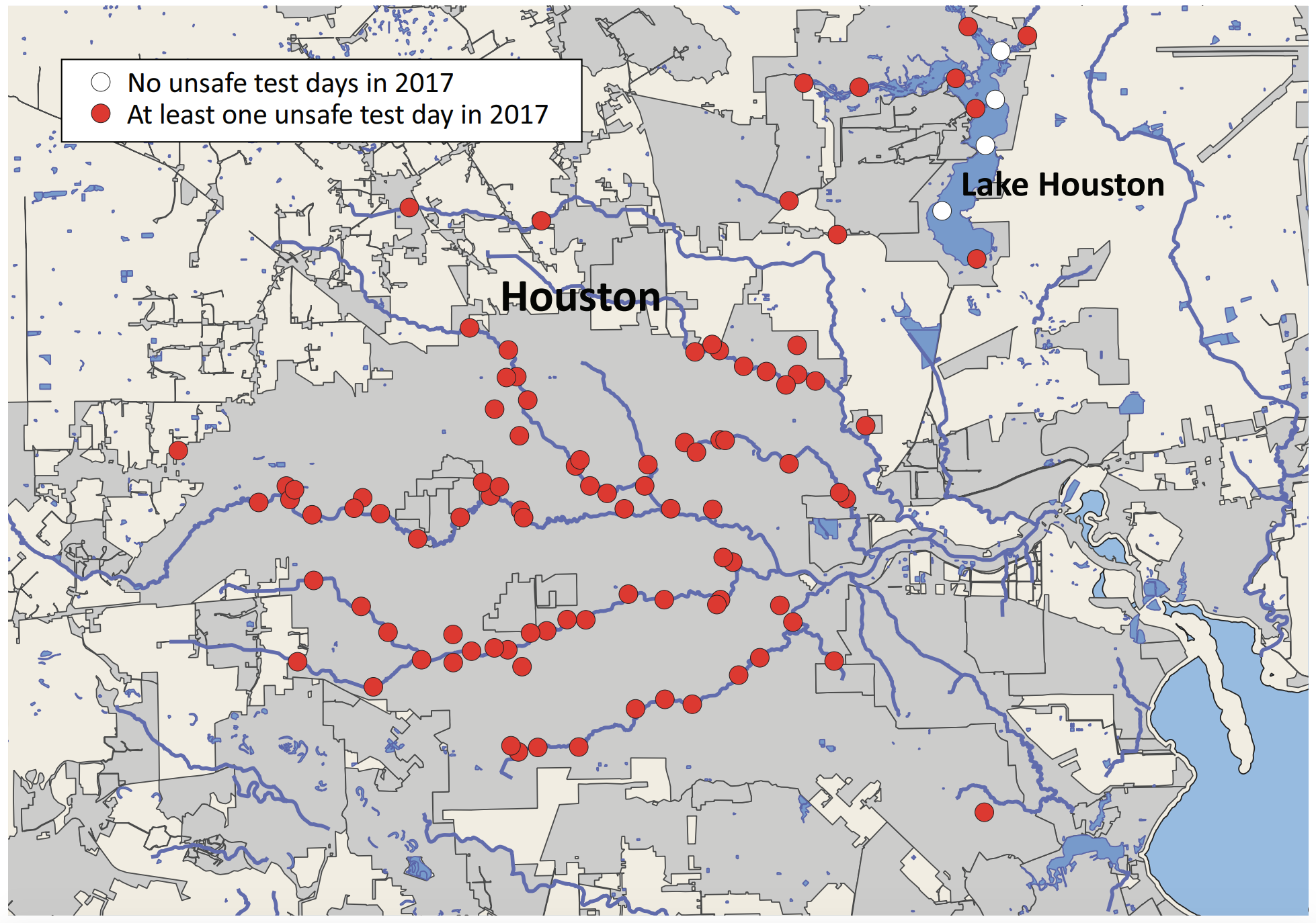 A map of the city of Houston showing polluted water was found at 96% of testing locations.