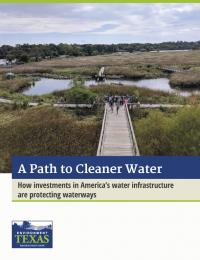 Report cover titled A Path to Cleaner Water with photo of wetland park